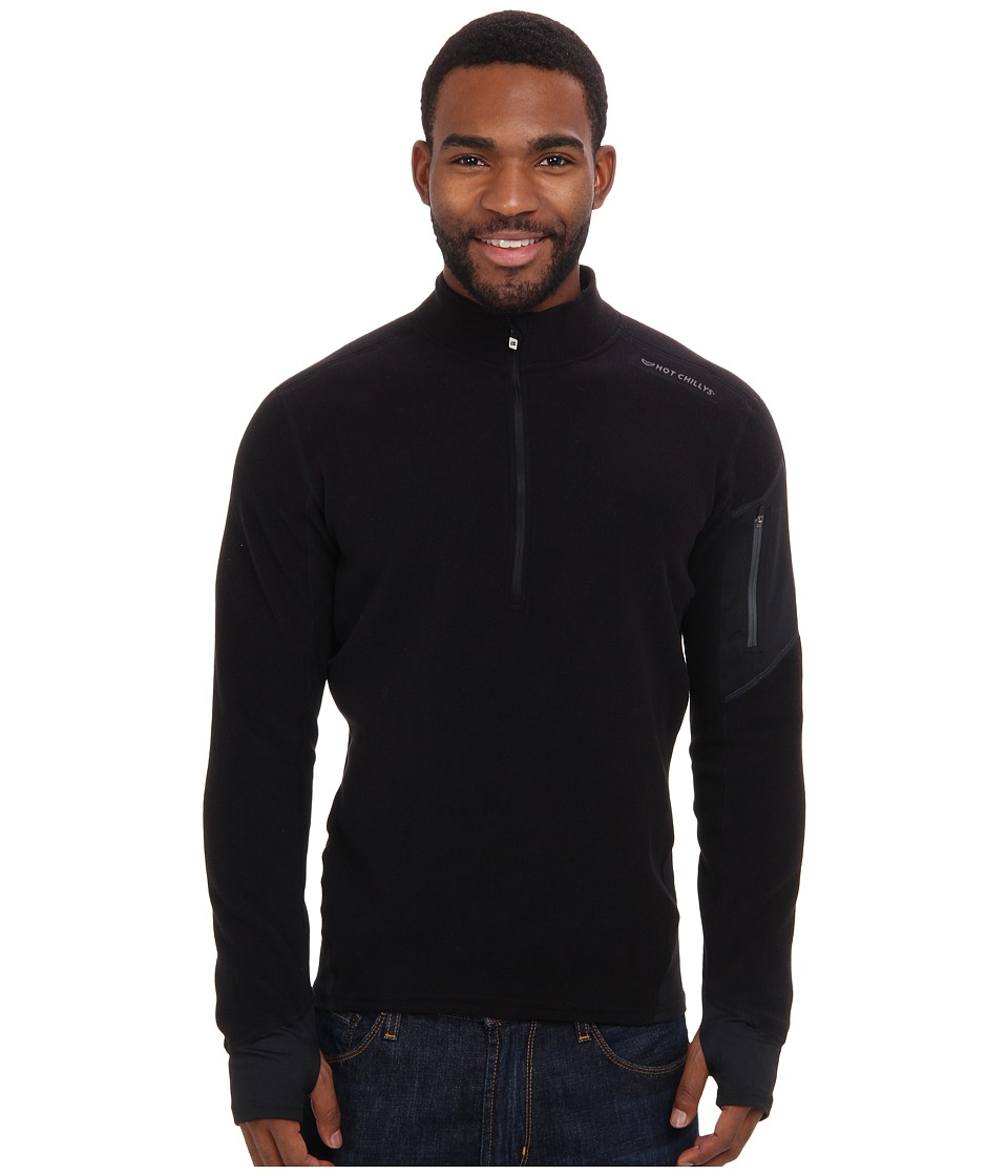 Hot Chillys La Montana Zip T Black/Black Mens Long Sleeve Pullover