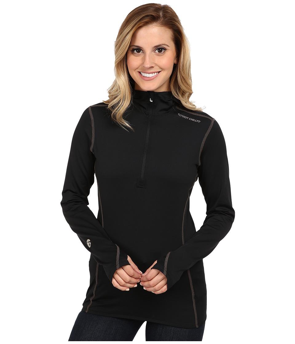 Hot Chillys Micro Elite Chamois 8K Hooded Zip Black Womens T Shirt