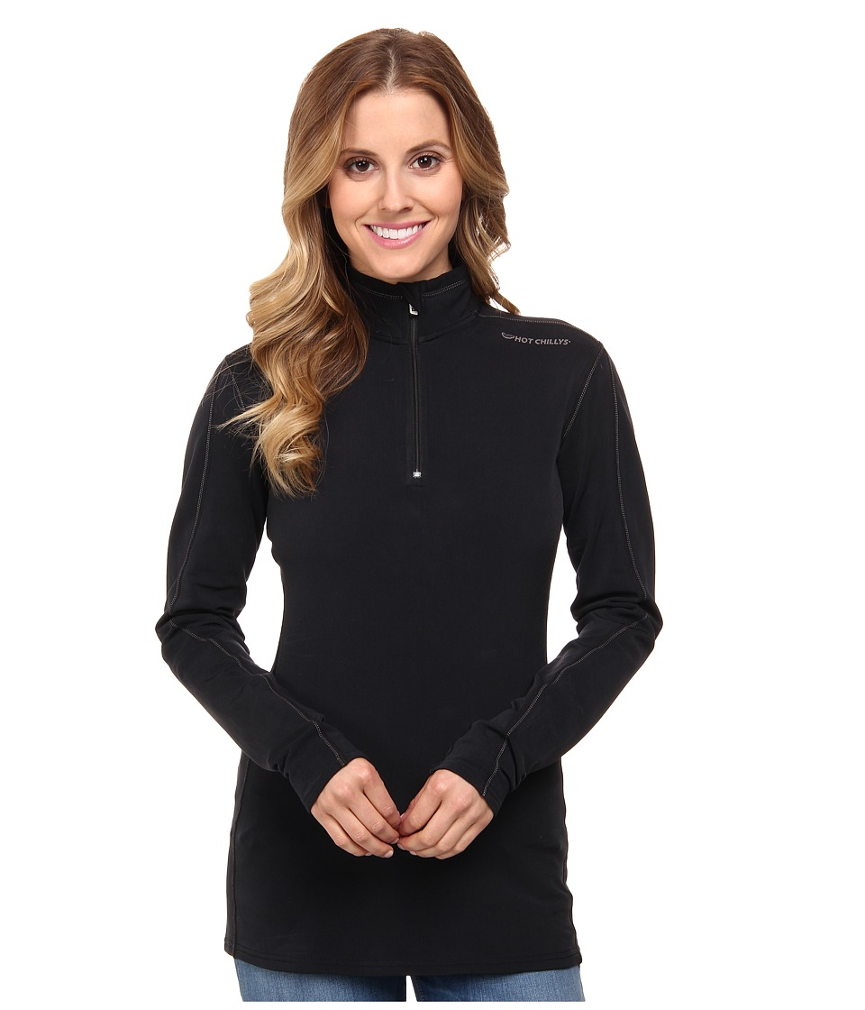 Hot Chillys Micro Elite XT Zip T Black/Granite Womens Long Sleeve Pullover