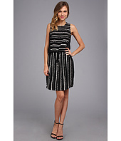 Vince Camuto - S/L Inkblot Stripe Tie Waist Dress
