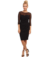 Adrianna Papell - Illusion Neck Side Pleated Dress