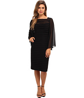 Adrianna Papell - Sheer Flared Sleeve Tuck Dress