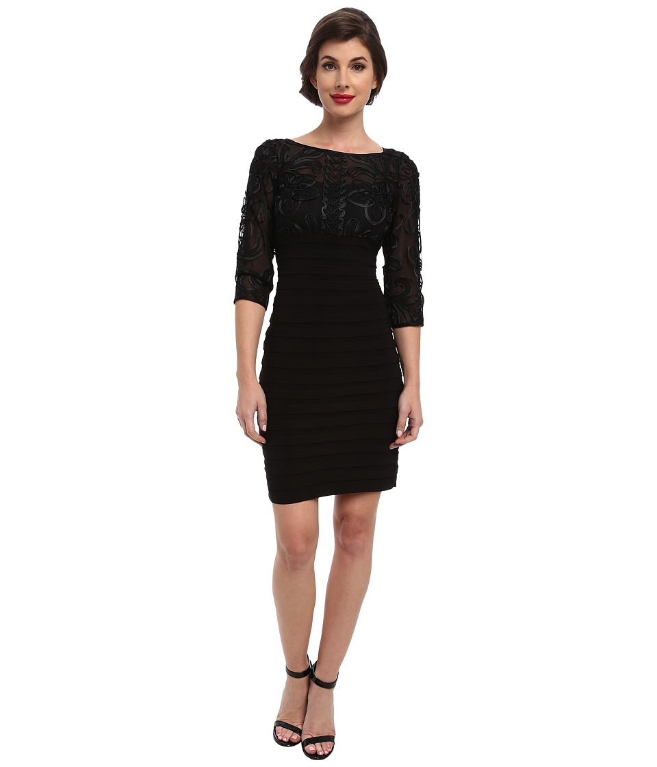 Adrianna Papell - Passementary Emb Banded Dress (Black) Womens Dress