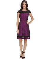 Adrianna Papell - Pleat Detail Sheath Illusion Flare Skirt Dress