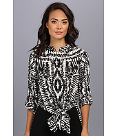 Vince Camuto - L/S Tribal Impression Tie Waist Tunic