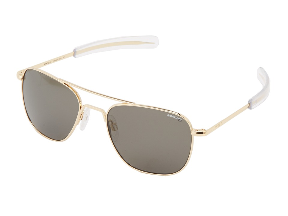 Randolph Aviator 55mm Polarized 23k Gold Plated/Gray Polarized Fashion Sunglasses