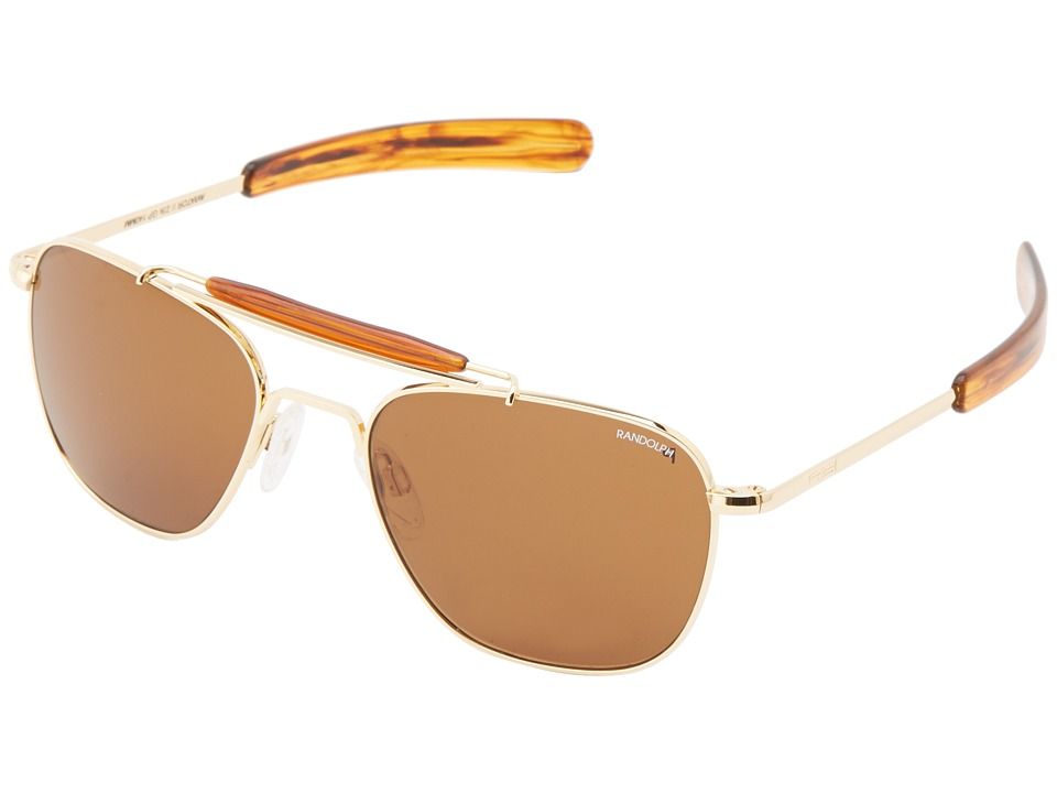 Randolph - Aviator II 55mm Polarized (23k Gold Plated/ Tan Polarized) Fashion Sunglasses