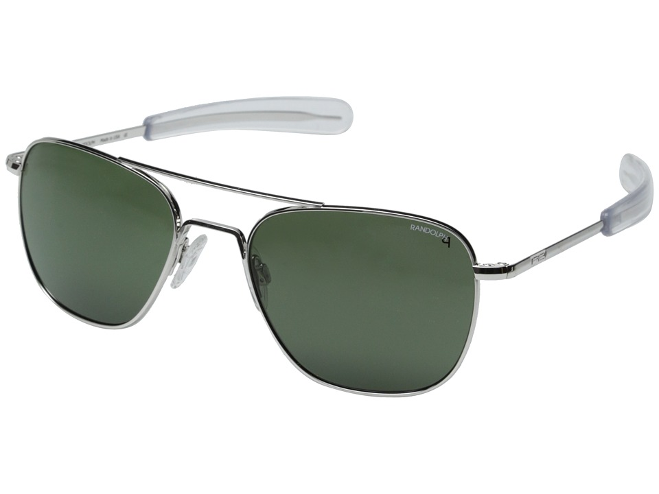 Randolph Aviator 55mm Polarized White Gold/AGX Polarized Fashion Sunglasses