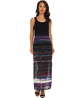 Vince Camuto - Chiffon Overlay Sweep Stripe Maxi Dress
