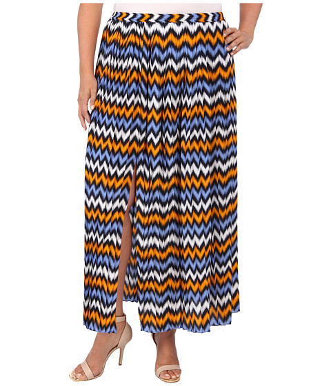 MICHAEL Michael Kors - Plus Size Ikat Pleated Maxi Skirt w/ Slit (Vintage Yellow/Oxford Blue) - Apparel