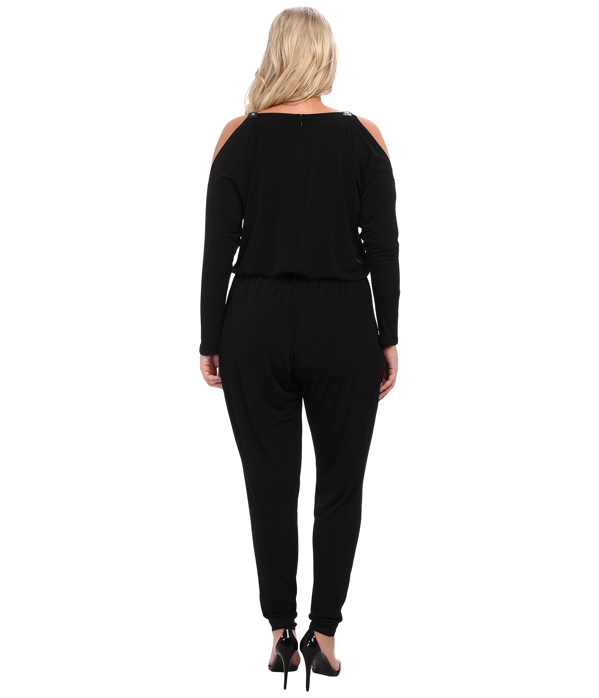 michael michael kors plus size chain strap jumpsuit shipped free at zappos. Black Bedroom Furniture Sets. Home Design Ideas