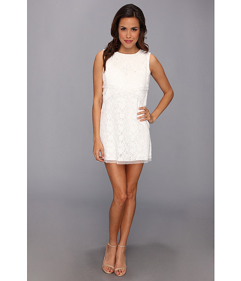 Bcbg white dress with black lace overlay