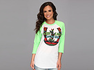 Gypsy SOULE - 3/4 Sleeve Baseball Tee with Horseshoe Make Your Own Luck (Neon Green)