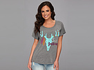 Gypsy SOULE - Slouchy Off The Shoulder Tee with Soule Searching Art (Vintage Grey)
