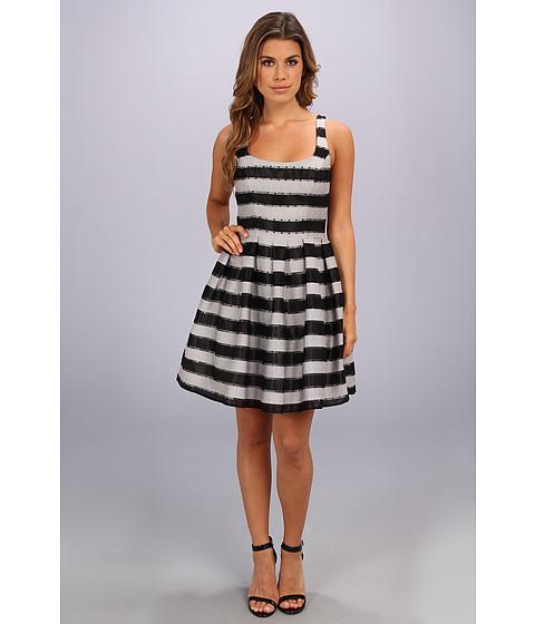 ABS Allen Schwartz Claire Stripe Dress Black - 6pm.com