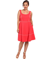 ABS Allen Schwartz - Plus Size Square Neck Ponte Dress w/ Piping