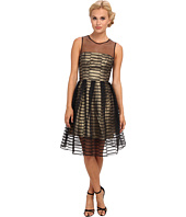 ABS Allen Schwartz - Stripe Sheer Overlay Fit and Flare Dress