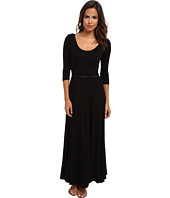 Calvin Klein - 3/4 Sleeve Belted Rayon Span Maxi Dress