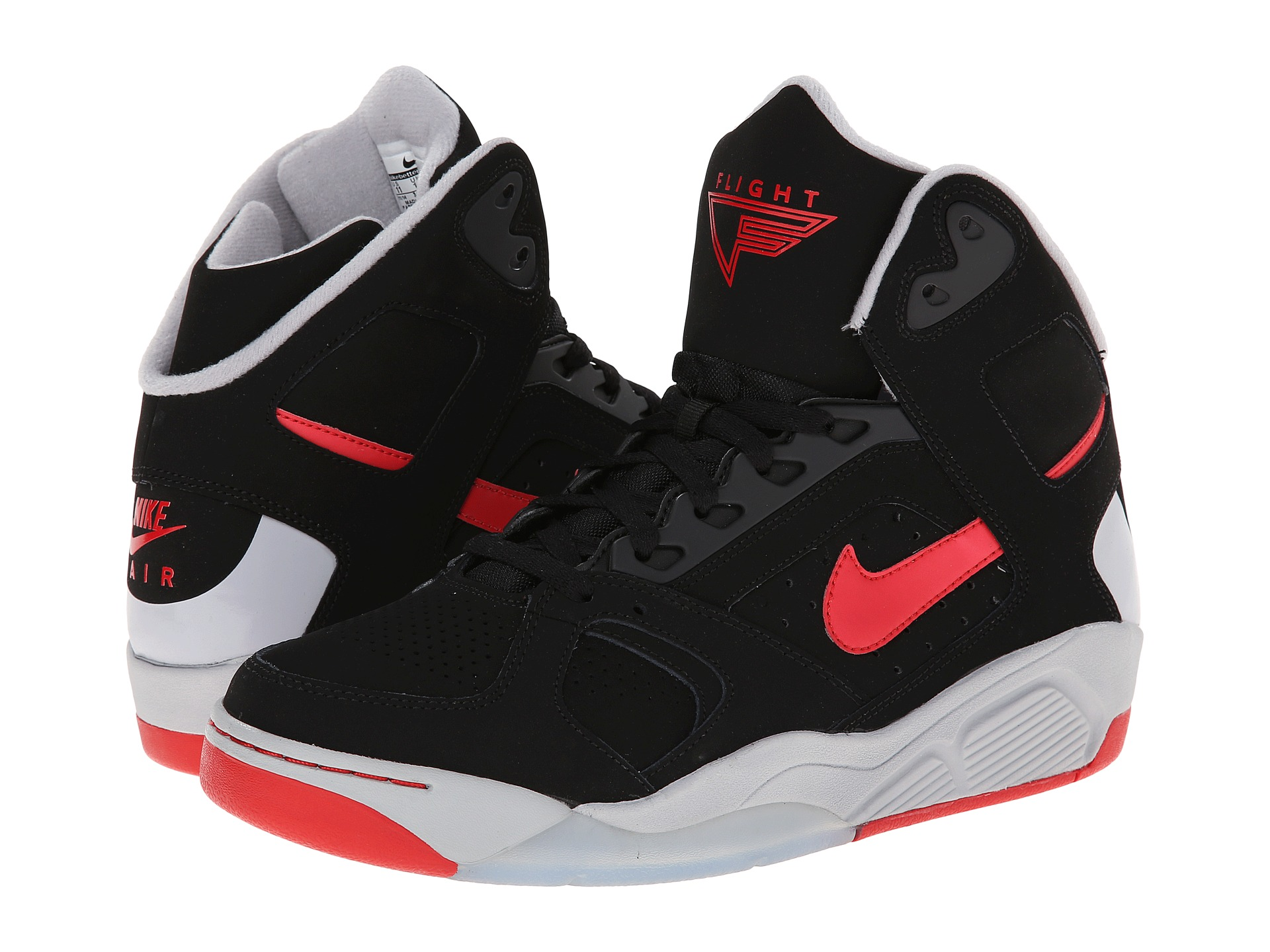nike air flight lite high black wolf grey university red shipped free at zappos. Black Bedroom Furniture Sets. Home Design Ideas