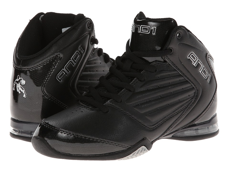 AND1 Kids - Master 2 Mid (Little Kid/Big Kid) (Black/Black/Silver) Boys Shoes