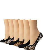 Steve Madden - 6 Pack Animal Print Mesh Footie