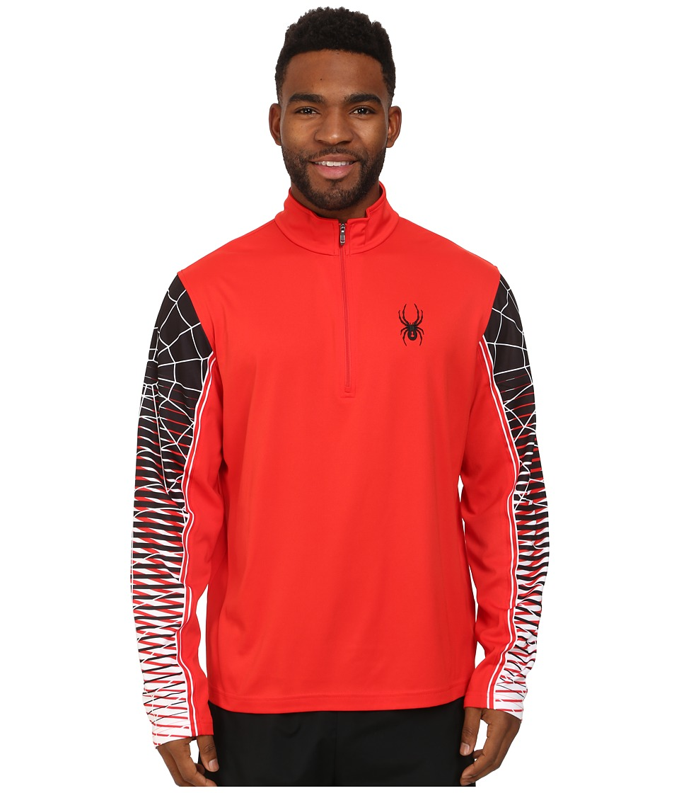 Spyder - Webstrong Dry W.E.B.tm T-Neck Top (Volcano/Black/White) Mens Long Sleeve Pullover
