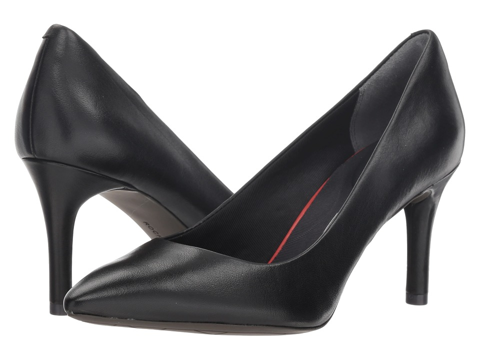 Rockport Total Motion 75mm Pointy Toe Pump (Black Smooth Leather) High Heels