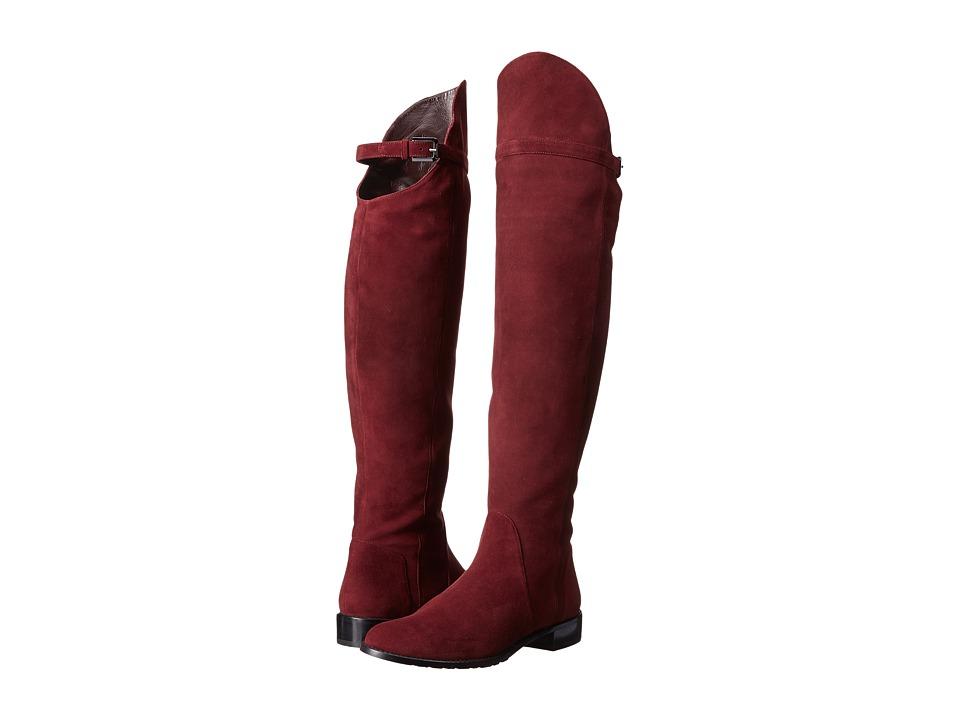 Stuart Weitzman Needaride (Currant Suede) Women's Zip Boots