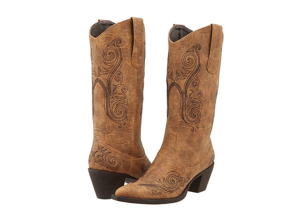 Roper - Swirl Stitch Boot (Tan) Cowboy Boots