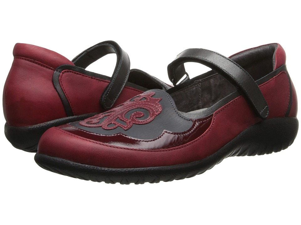 Naot Motu (Ruby Leather/Brushed Black Leather/Beet Red Pa...