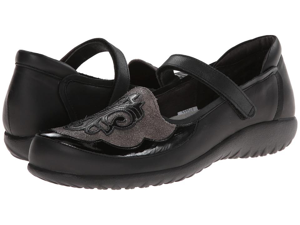 Naot Footwear Motu (Jet Black Leather/Gray Shimmer Leather/Black Patent Leather) Women
