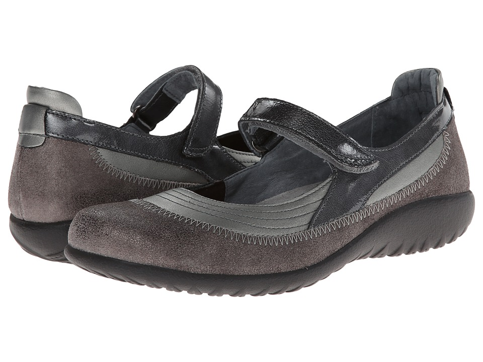 Naot Footwear Kirei (Sterling Leather/Gray Shimmer Leather/Gray Patent Leather) Maryjane Shoes