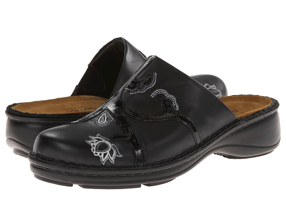 Naot Footwear Magnolia (Black Raven Leather/Black Patent Leather) Women