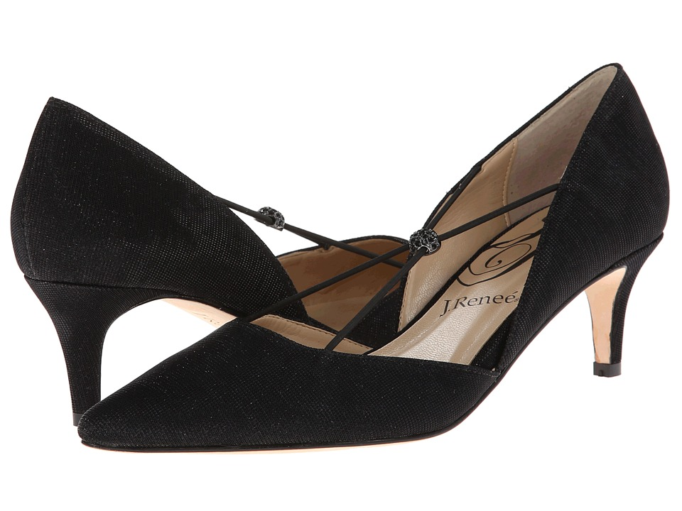 1920s Style Shoes J. Renee - Veeva Black Fabric Womens Shoes $99.95 AT vintagedancer.com