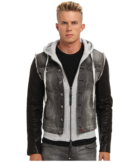 philipp plein distressed denim jacket grey free shipping both ways. Black Bedroom Furniture Sets. Home Design Ideas
