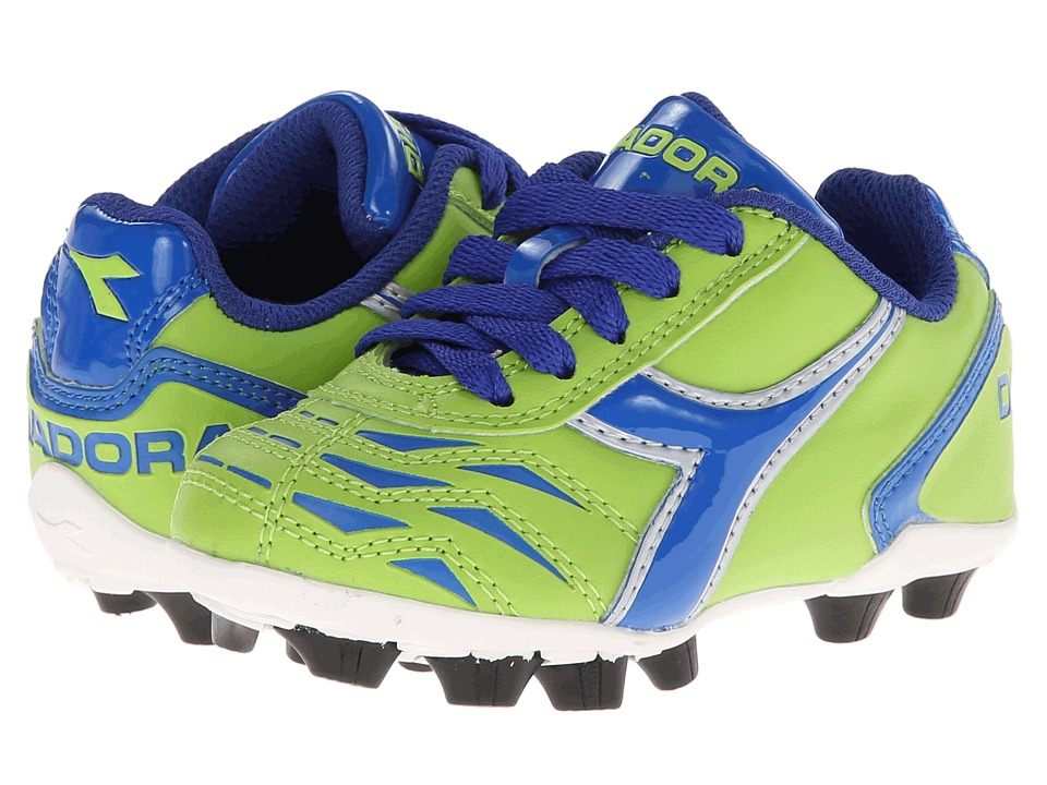 Diadora Kids Capitano MD Jr Soccer Toddler/Little Kid/Big Kid Lime Green/Dk Royal Kids Shoes