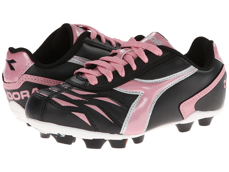 Diadora Kids Capitano MD Jr Soccer Toddler/Little Kid/Big Kid Black/Pink Kids Shoes