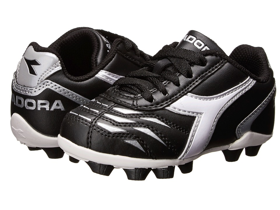 Diadora Kids Capitano MD Jr Soccer Toddler/Little Kid/Big Kid Black/White/Silver Kids Shoes
