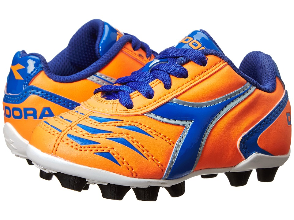 Diadora Kids Capitano MD Jr Soccer Toddler/Little Kid/Big Kid Orange/Blue Kids Shoes