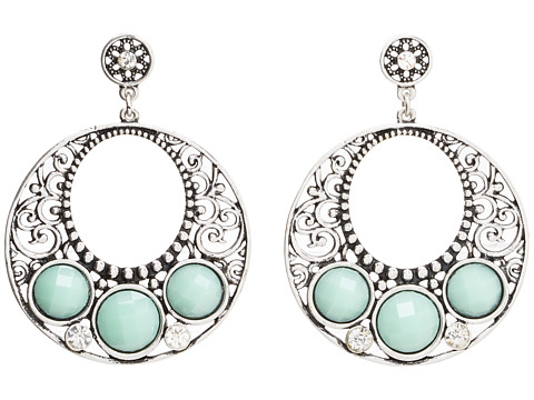 M&F Western Turquoise Disc Hoop Earrings