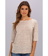 Michael Stars - Linen Knit Stripe Elbow Sleeve Boatneck Top