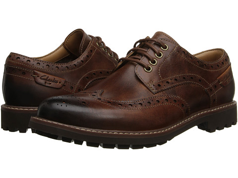 Clarks Montacute Wing - Dark Tan Leather