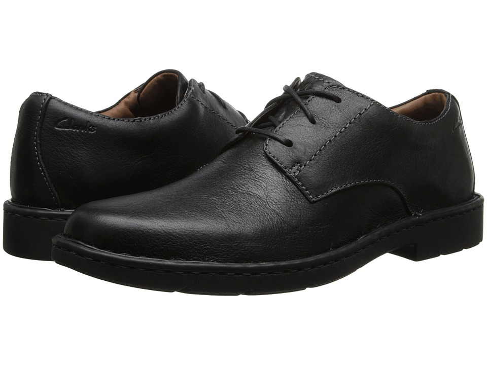 Clarks - Stratton Way (Black Leather) Men's Lace Up Cap Toe Shoes