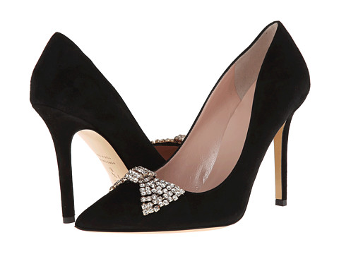 Shop Kate Spade New York online and buy Kate Spade New York Lissie Black Suede Footwear - Zappos.com is proud to offer the Kate Spade New York - Lissie (Black Suede) - Footwear: Whether you throw them on with your skinny jeans for date night or to finish off that perfect look for your formal affair, the Lissie from Kate Spade New York is simply perfect. ; Pointed toe pump with bow detail. ; Gold-tone bow with white pavè crystals at vamp. ; Suede leather upper. ; Leather lining. ; Lightly padded leather insole. ; Wrapped heel. ; Smooth leather outsole. ; Made in Italy. Measurements: ; Heel Height: 3 1 2 in ; Weight: 7 oz ; Product measurements were taken using size 7.5, width M. Please note that measurements may vary by size.