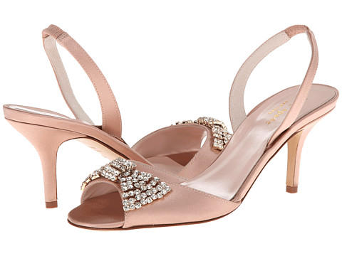 Shop Kate Spade New York online and buy Kate Spade New York Miva Dusty Pink Satin Footwear - Zappos.com is proud to offer the Kate Spade New York - Miva (Dusty Pink Satin) - Footwear: The stunning Miva from Kate Spade New York is the perfect finish to your look. ; Peep toe, sling back heel. ; Leather upper with crystal embellishment. ; Crystal bow adorns the vamp of the shoe. ; Elasticized heel strap for easy slip on wear. ; Smooth leather lining. ; Lightly padded leather insole. ; Wrapped heel. ; Leather outsole. ; Made in Italy and Imported. Measurements: ; Heel Height: 3 in ; Weight: 7 oz ; Product measurements were taken using size 8, width M. Please note that measurements may vary by size.