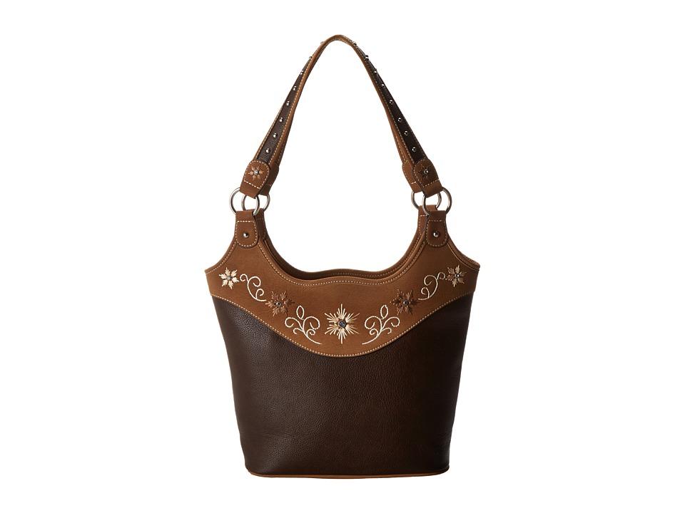 M & F Western - Embroidered Flower Bucket Tote (Distressed Brown) Shoulder Handbags