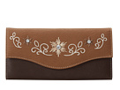 M&F Western Embroidered Flower Wallet (Distressed Brown)