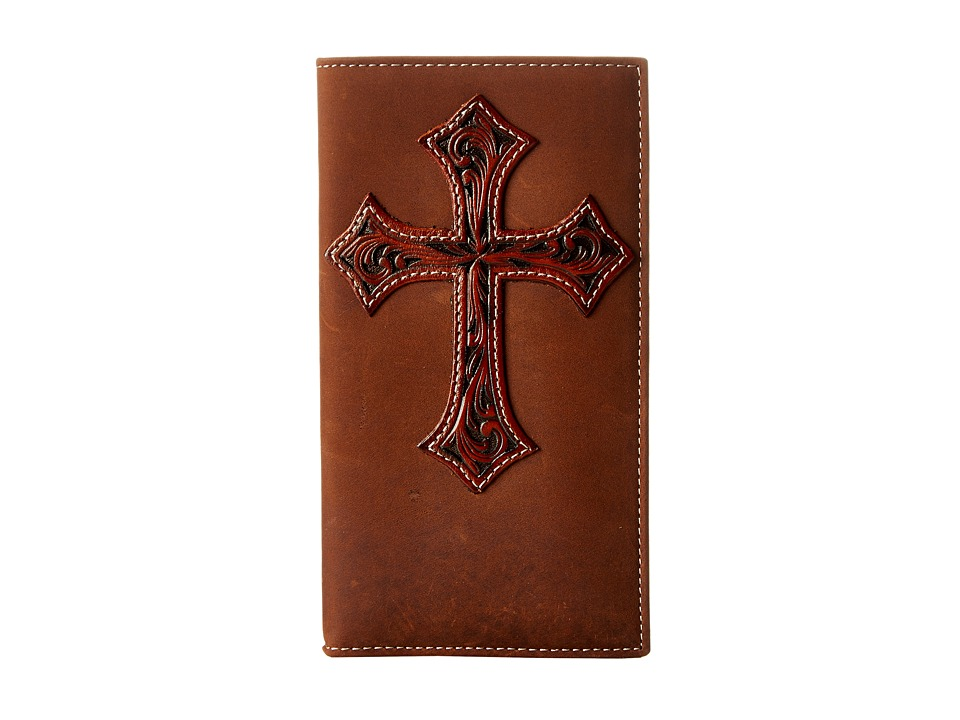 M&F Western - Tooled Cross Overlay Rodeo Wallet (Medium Brown) Wallet Handbags
