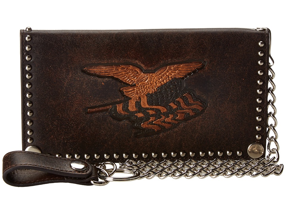 M&F Western - Eagle Flag Patriotic Embossed Checkbook Wallet w/ Chain (Brown) Wallet Handbags