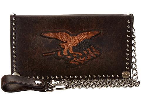 M&F Western Eagle Flag Patriotic Embossed Checkbook Wallet w/ Chain - Brown